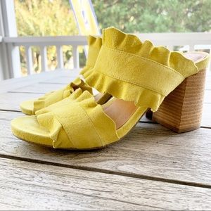FREE PEOPLE Rosie Ruffle Two Strap Leather Sandal